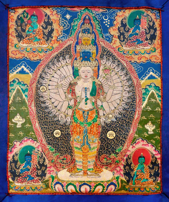 Купить Плакат Авалокитешвара Тысячерукий (Сахасрабхуджа) (30 x 36 см) в  интернет-магазине Dharma.ru
